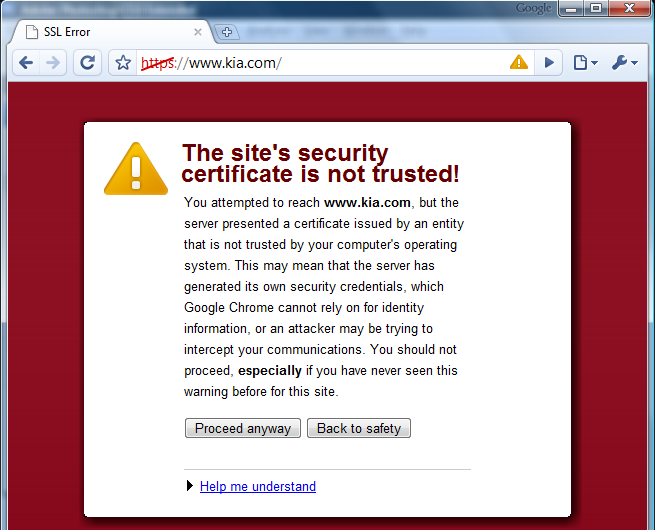 Certificate Not Trusted Error in Google Chrome