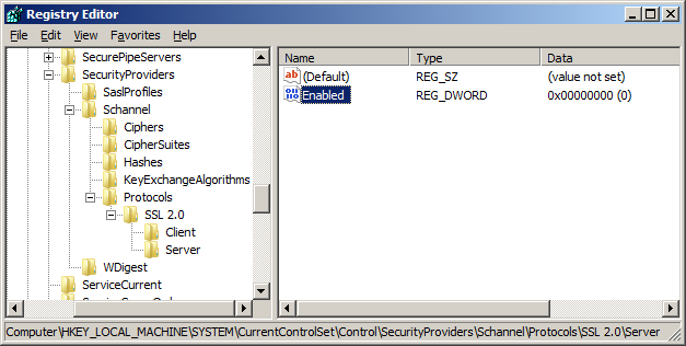 Disable SSL 2.0 in IIS inside the registry editor