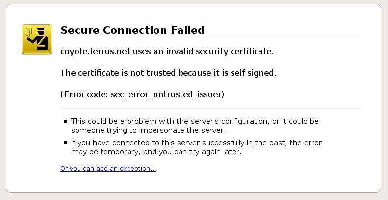 Certificate Not Trusted Error in in Firefox 3