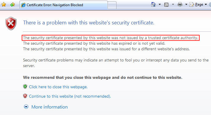 Certificate Not Trusted Error in Internet Explorer 7