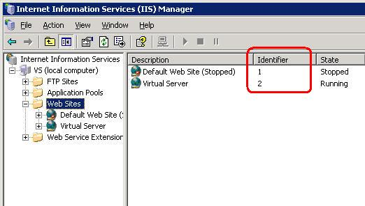 Find the site identifier by clicking on Web Sites in IIS