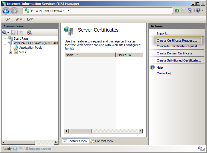 Installing an SSL Certificate in Windows Server 2008 (IIS 7.0)