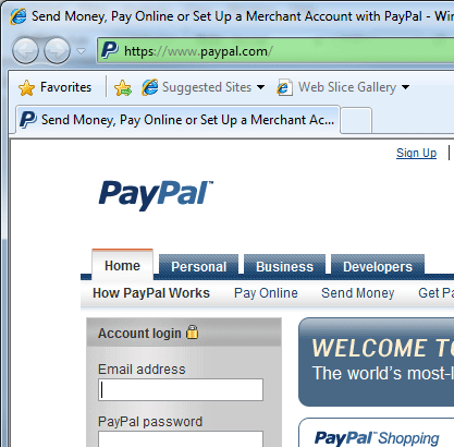Secure HTTPS Login on PayPal