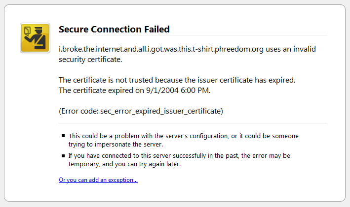 Expired SSL Certificate in Firefox 3