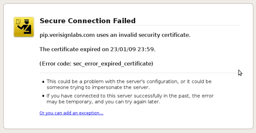 VeriSign Forgets to Renew an SSL Certificate